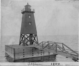 Figure 1.8 This illustration the Alpena Lighthouse in 1904 and  is the earliest image we have been able to obtain.