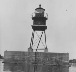 Figure 2.1 This is an illustration of the 1914 Alpena Lighthouse sometime after the compressed air fog signals were installed in 1932 with the lighthouse painted black from an undated photograph.
